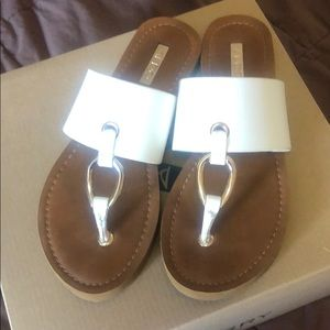 White and gold Aldo Sandals worm once
